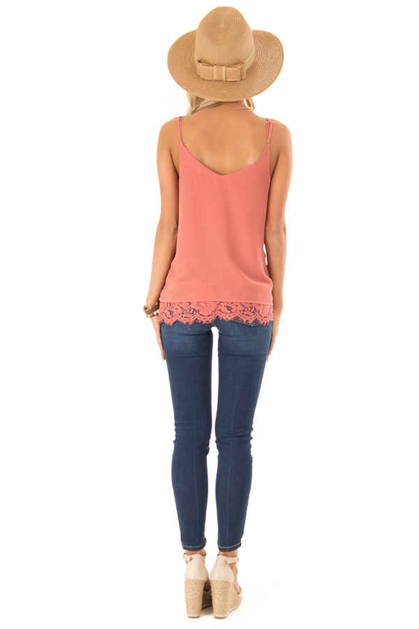 Marsala Tank Top with Lace Detail on Neckline and Hem back full body