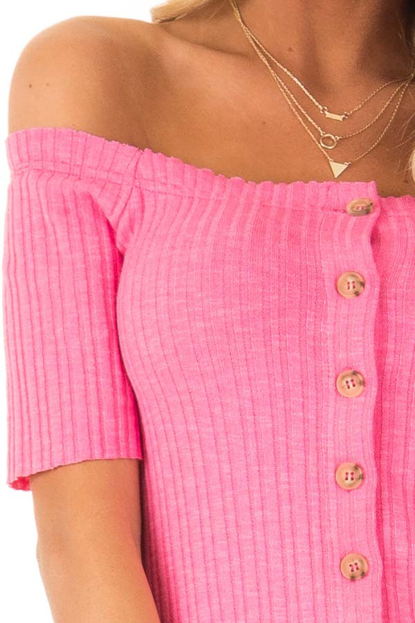 Punch Pink Cropped Off Shoulder Button Up Ribbed Knit Top detail