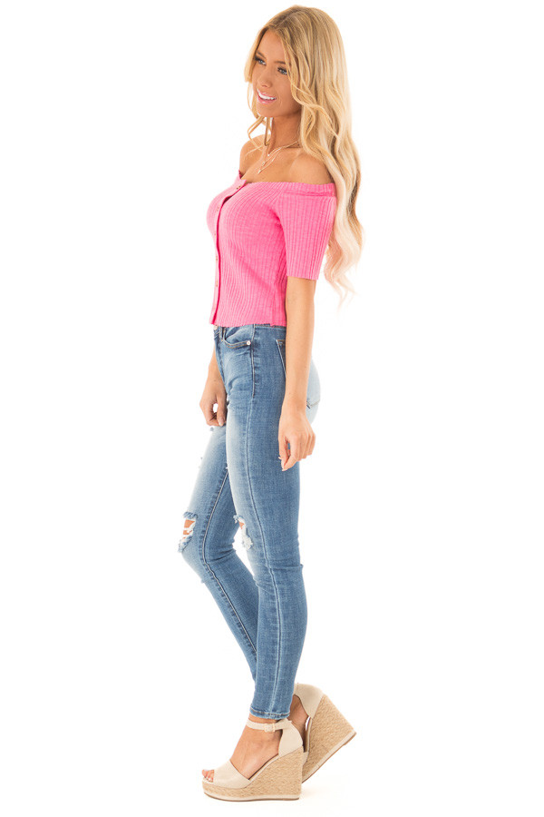 Punch Pink Cropped Off Shoulder Button Up Ribbed Knit Top side full body