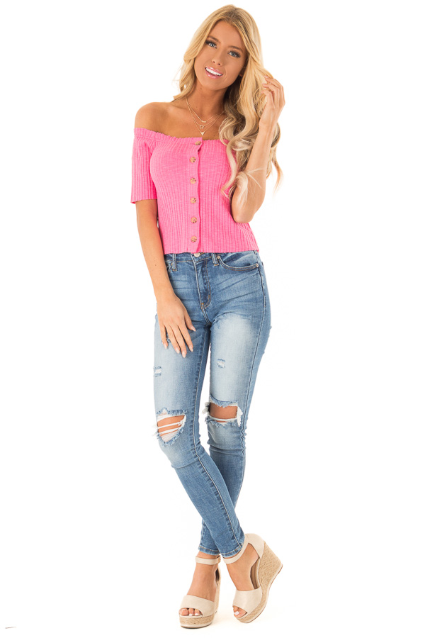 Punch Pink Cropped Off Shoulder Button Up Ribbed Knit Top front full body