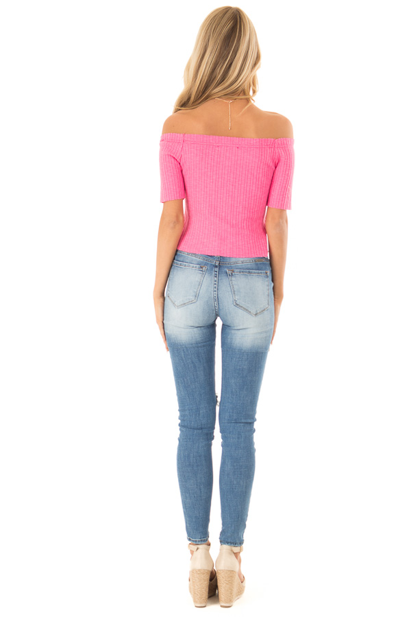 Punch Pink Cropped Off Shoulder Button Up Ribbed Knit Top back full body