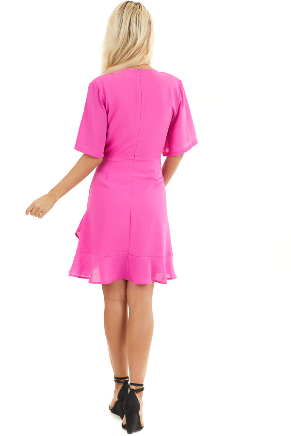 Magenta Surplice Mini Dress with Short Sleeves back full body