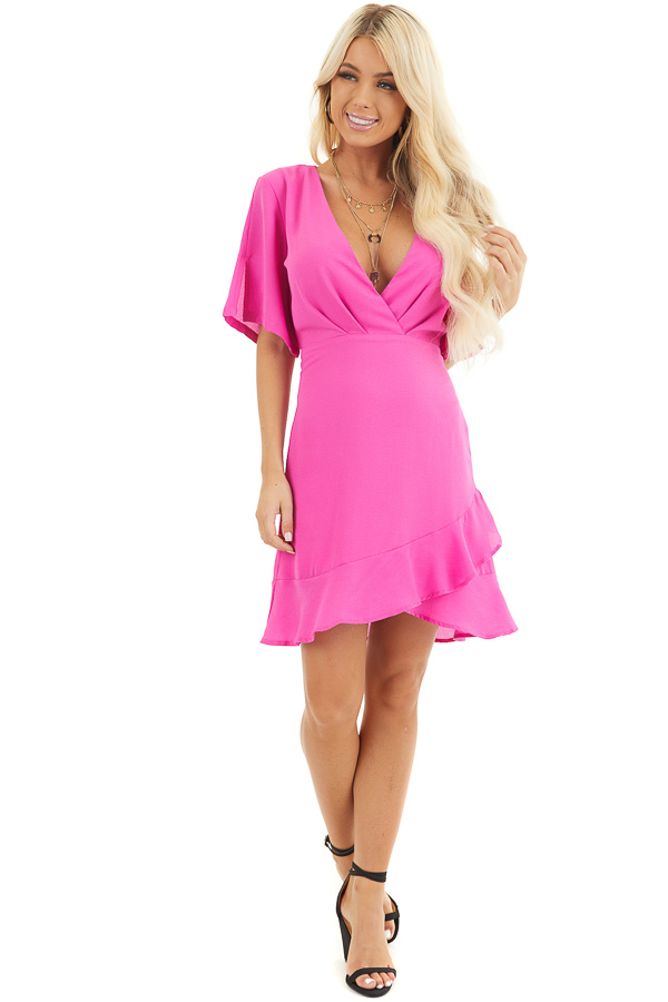 Magenta Surplice Mini Dress with Short Sleeves front full body