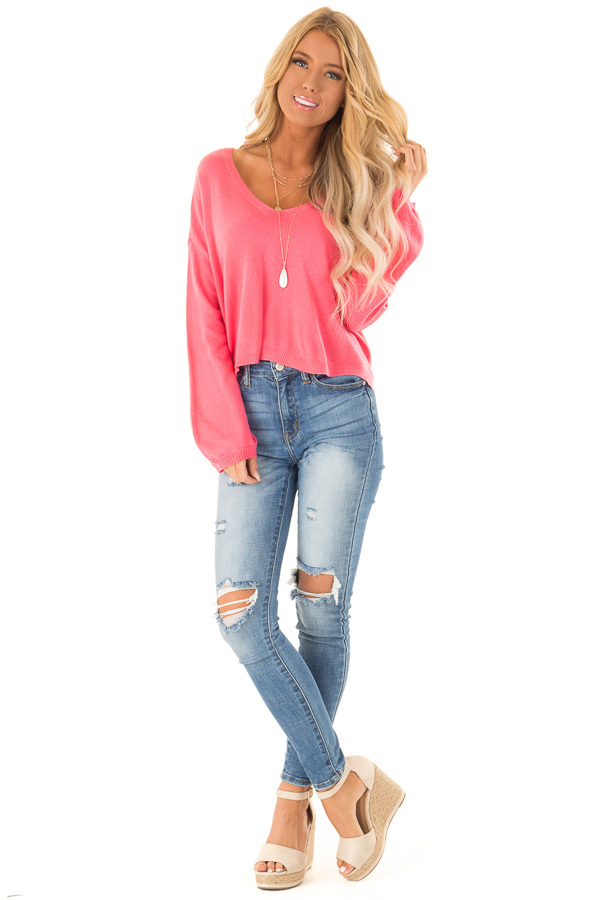Bright Pink V Neck Long Sleeve Pullover Sweater front full body