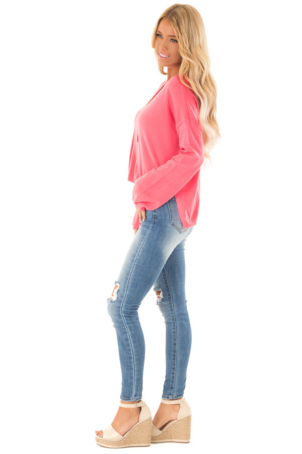 Bright Pink V Neck Long Sleeve Pullover Sweater side full body