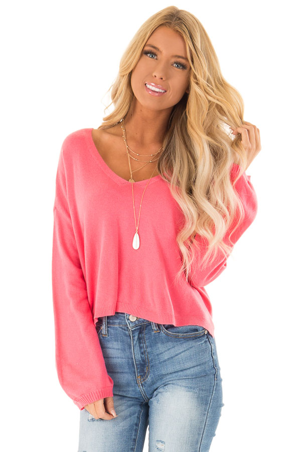 Bright Pink V Neck Long Sleeve Pullover Sweater front close up