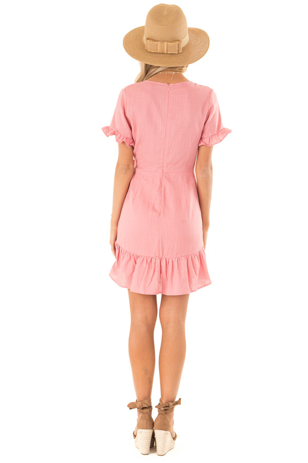 Strawberry Pink Wrapped Mini Dress with Ruffle Detail back full body