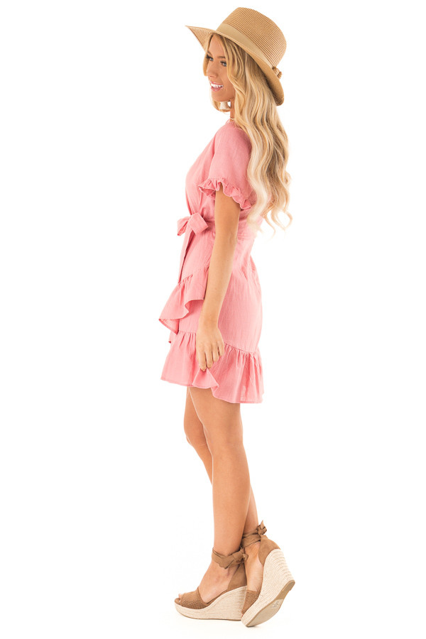 Strawberry Pink Wrapped Mini Dress with Ruffle Detail side full body