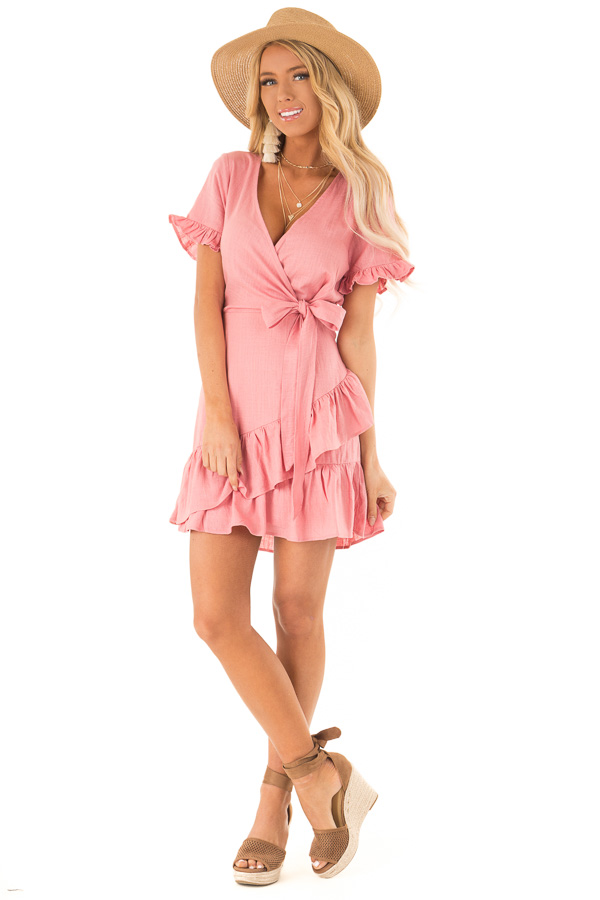 Strawberry Pink Wrapped Mini Dress with Ruffle Detail front full body