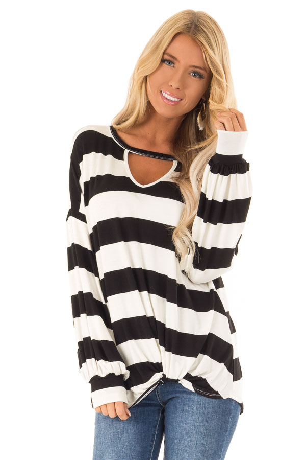 Black and White Striped Top with Twist Detail front close up