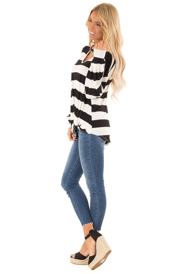 Black and White Striped Top with Twist Detail side full body