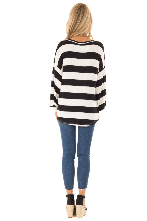 Black and White Striped Top with Twist Detail back full body