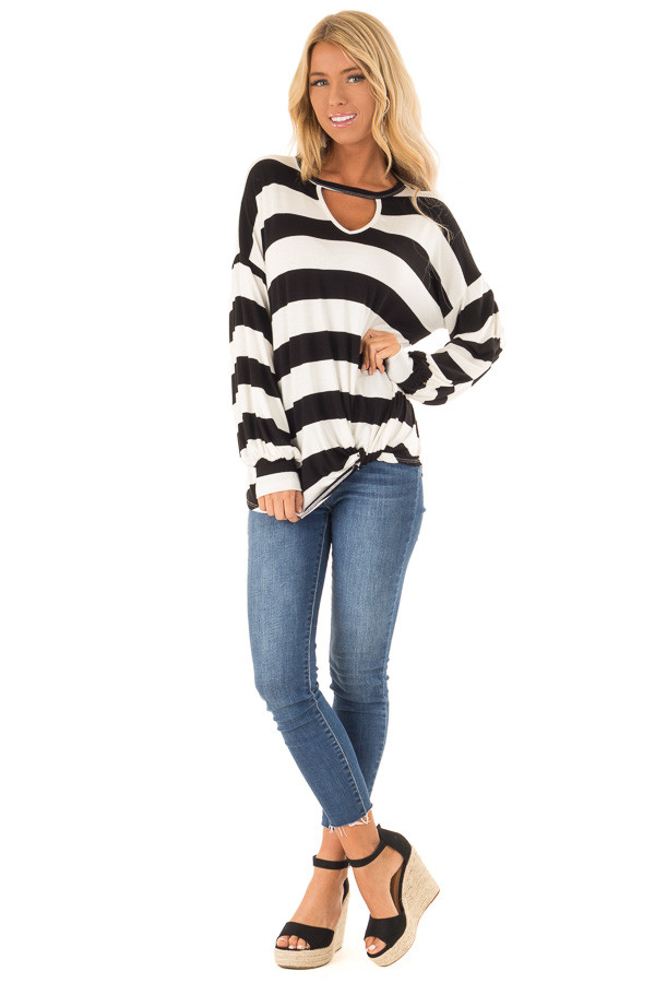 Black and White Striped Top with Twist Detail front full body
