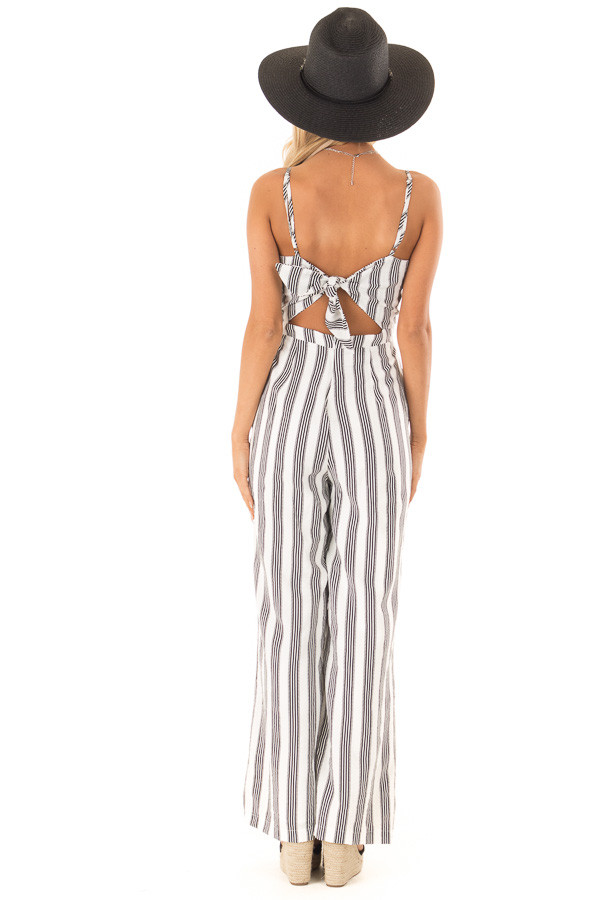 Off White and Black Striped Sleeveless Wide Leg Jumpsuit back full body