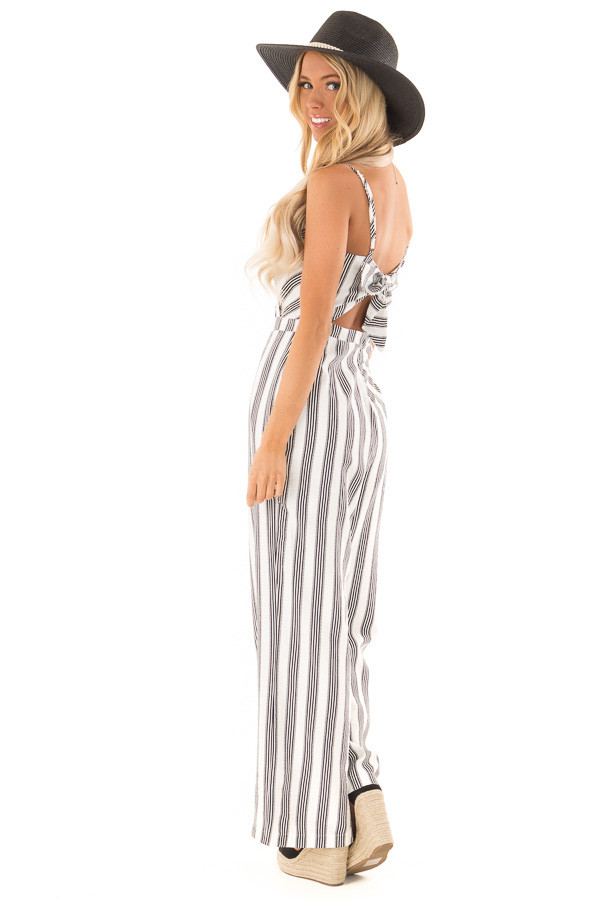 Off White and Black Striped Sleeveless Wide Leg Jumpsuit side full body
