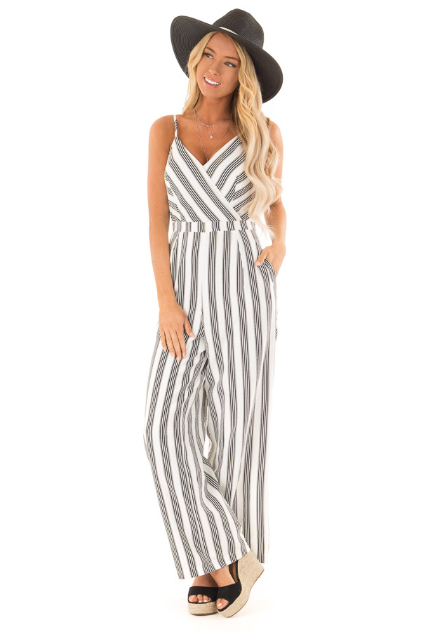 Off White and Black Striped Sleeveless Wide Leg Jumpsuit front full body