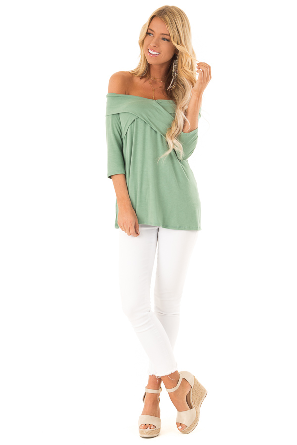 Light Green Cross Over Off Shoulder 3/4 Sleeve Top front full body