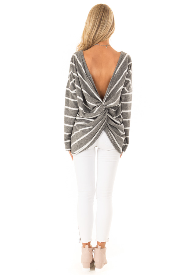 Charcoal and Ivory Striped Twist Back Long Sleeve Top back full body