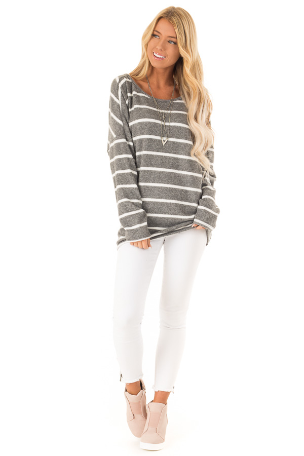 Charcoal and Ivory Striped Twist Back Long Sleeve Top front full body