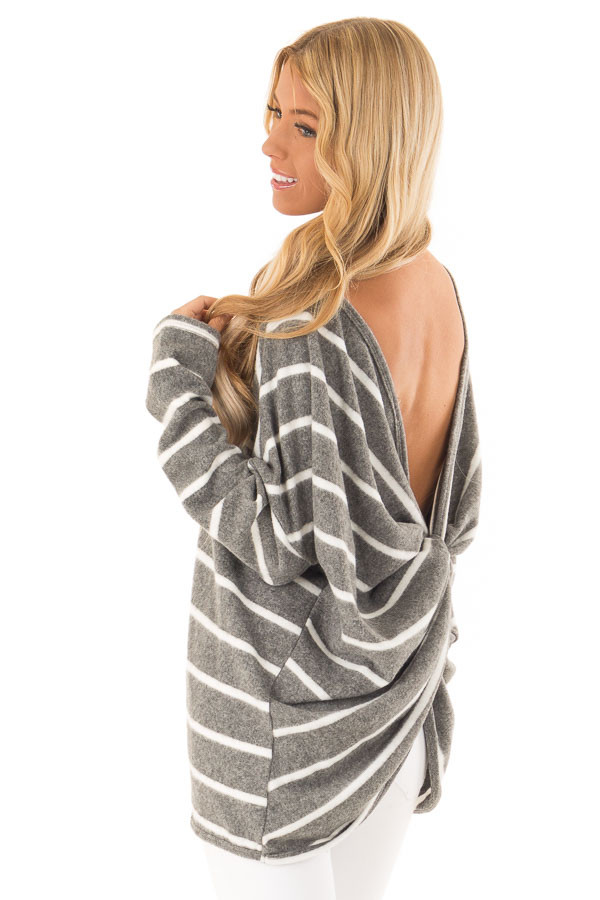 Charcoal and Ivory Striped Twist Back Long Sleeve Top back side close up