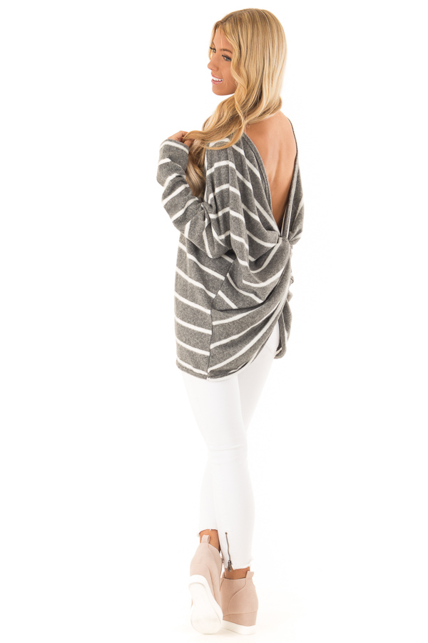 Charcoal and Ivory Striped Twist Back Long Sleeve Top side full body