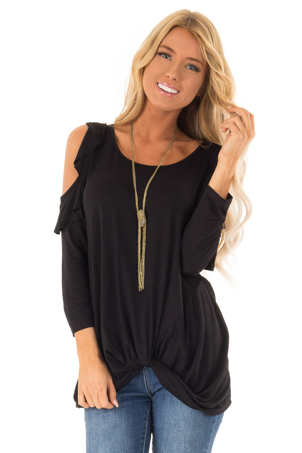 Ink Black 3/4 Sleeve Cold Shoulder Top with Ruffle Detail front close up