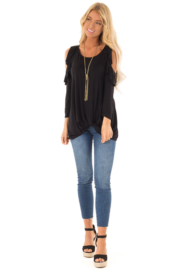Ink Black 3/4 Sleeve Cold Shoulder Top with Ruffle Detail front full body