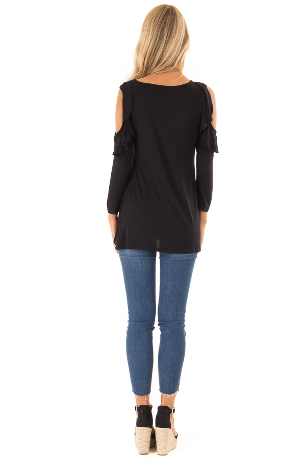 Ink Black 3/4 Sleeve Cold Shoulder Top with Ruffle Detail back full body