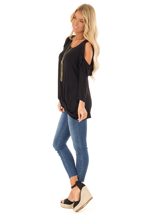 Ink Black 3/4 Sleeve Cold Shoulder Top with Ruffle Detail side full body