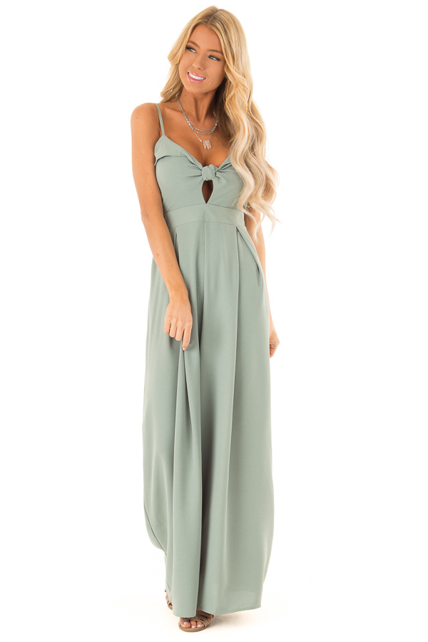8ce1cd11f2f3 Dusty Sage Wide Leg Jumpsuit with Front Tie Detail - Lime Lush Boutique