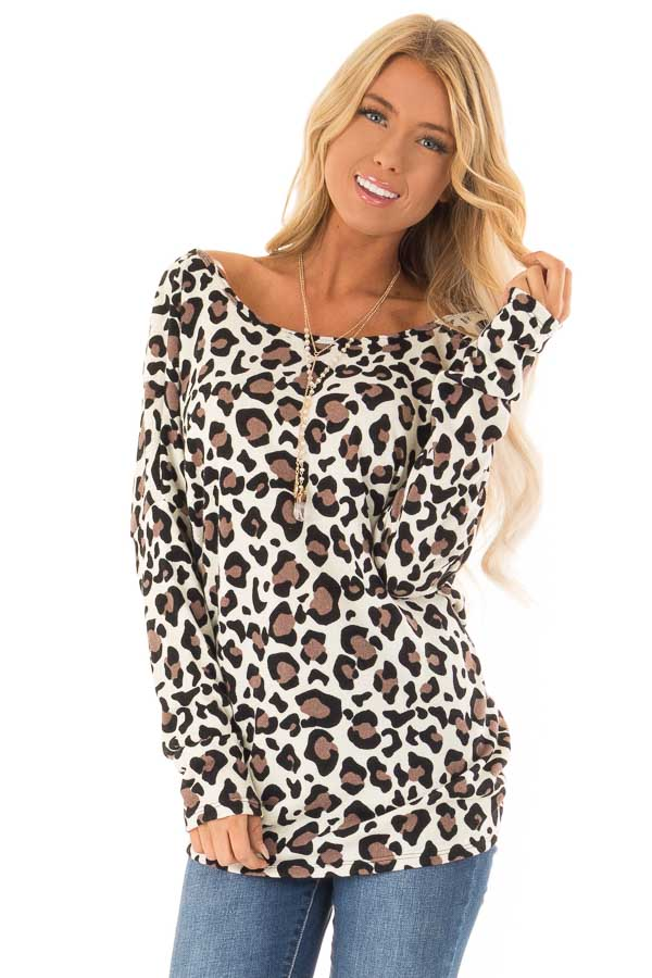 Cream Leopard Print Top with Open Back and Twisted Detail front close up