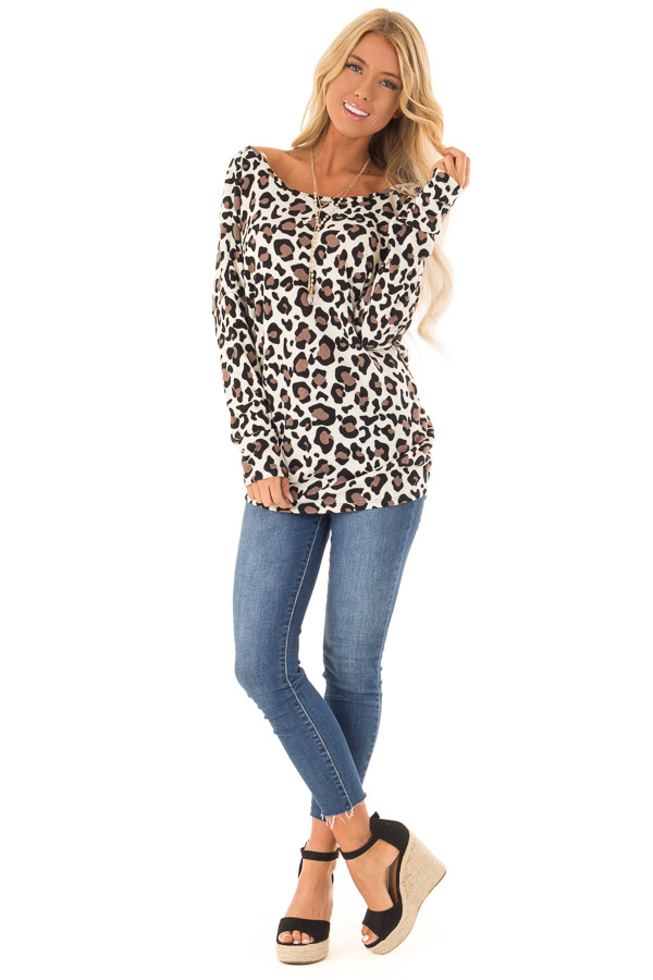 Cream Leopard Print Top with Open Back and Twisted Detail front full body