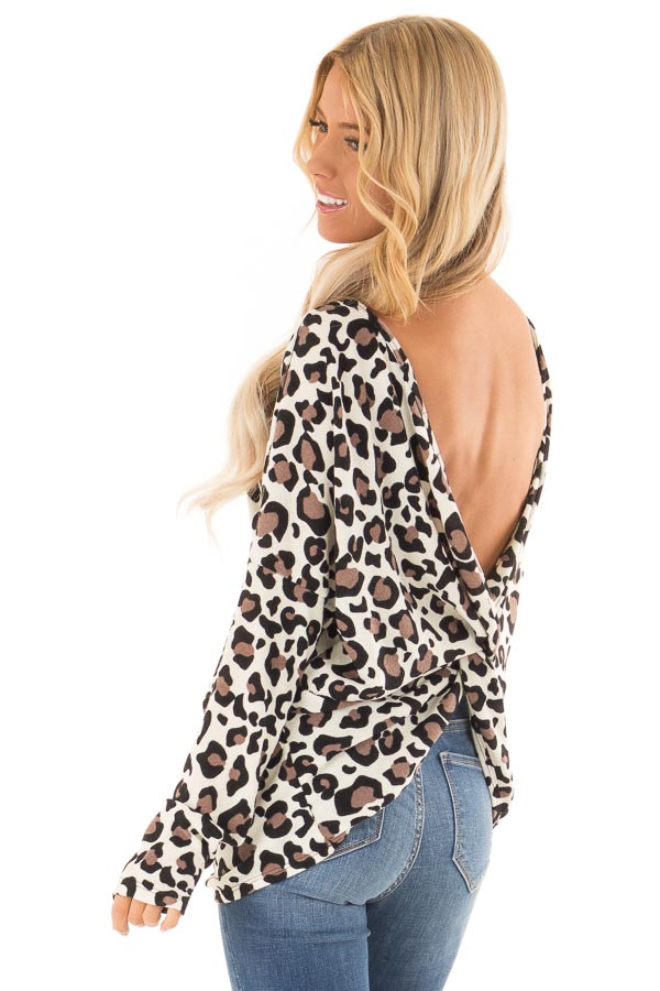 Cream Leopard Print Top with Open Back and Twisted Detail side back close up