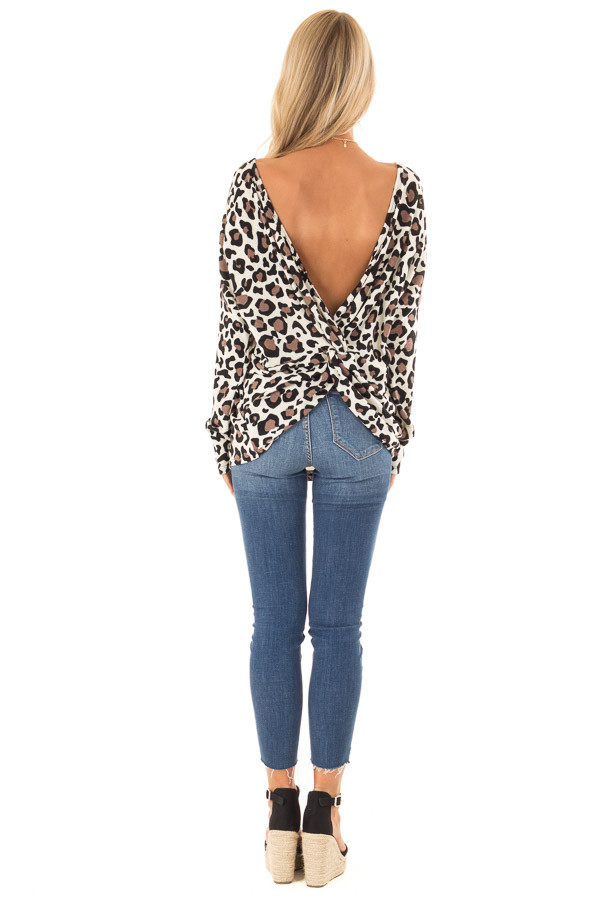 Cream Leopard Print Top with Open Back and Twisted Detail back full body