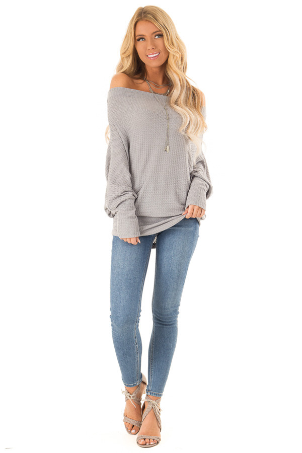 d1fb462e804a9c ... Heather Grey Waffle Knit Dolman Off Shoulder Top front full body ...