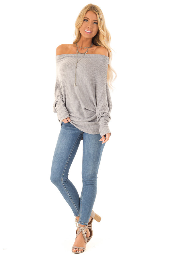 Heather Grey Waffle Knit Dolman Off Shoulder Top front full body