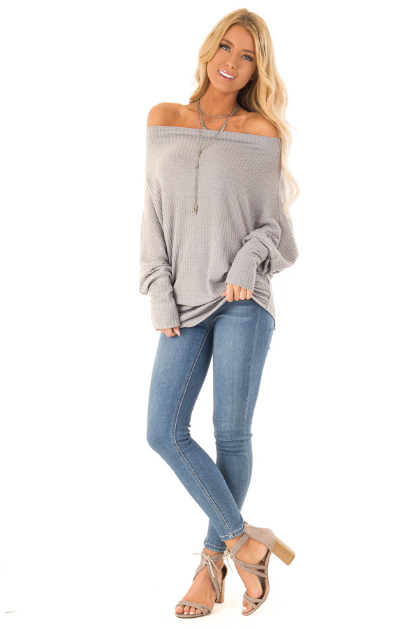 2c8ddd17a6eed9 Heather Grey Waffle Knit Dolman Off Shoulder Top - Lime Lush Boutique