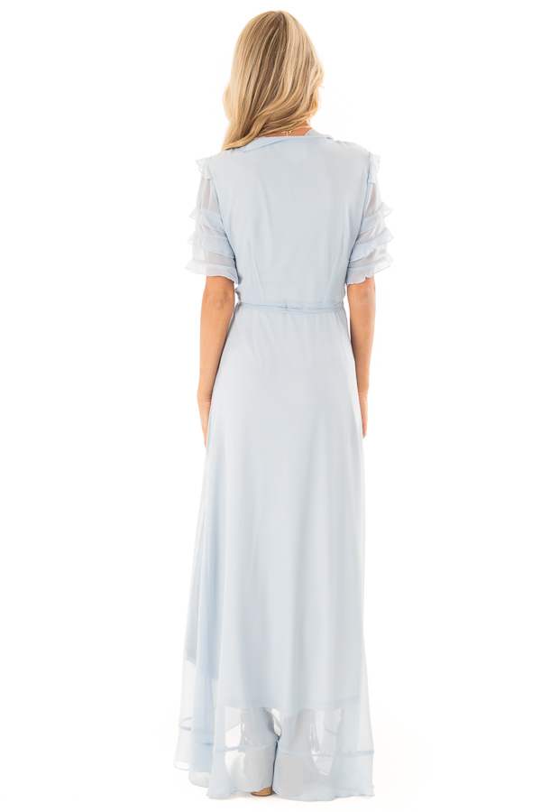 Baby Blue Short Sleeve Maxi Wrap Dress with Ruffle Detail back full body