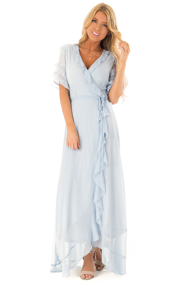 Baby Blue Short Sleeve Maxi Wrap Dress with Ruffle Detail front full body