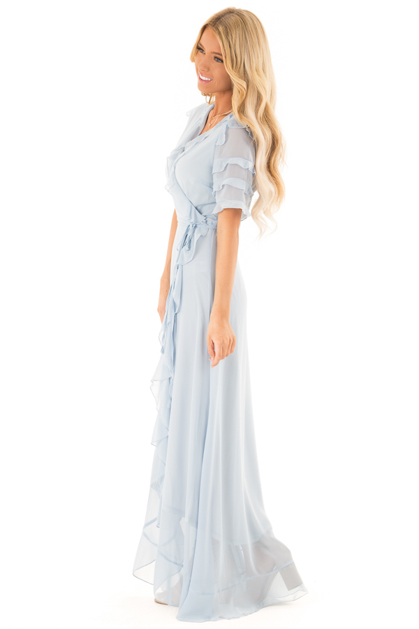 Baby Blue Short Sleeve Maxi Wrap Dress with Ruffle Detail side full body