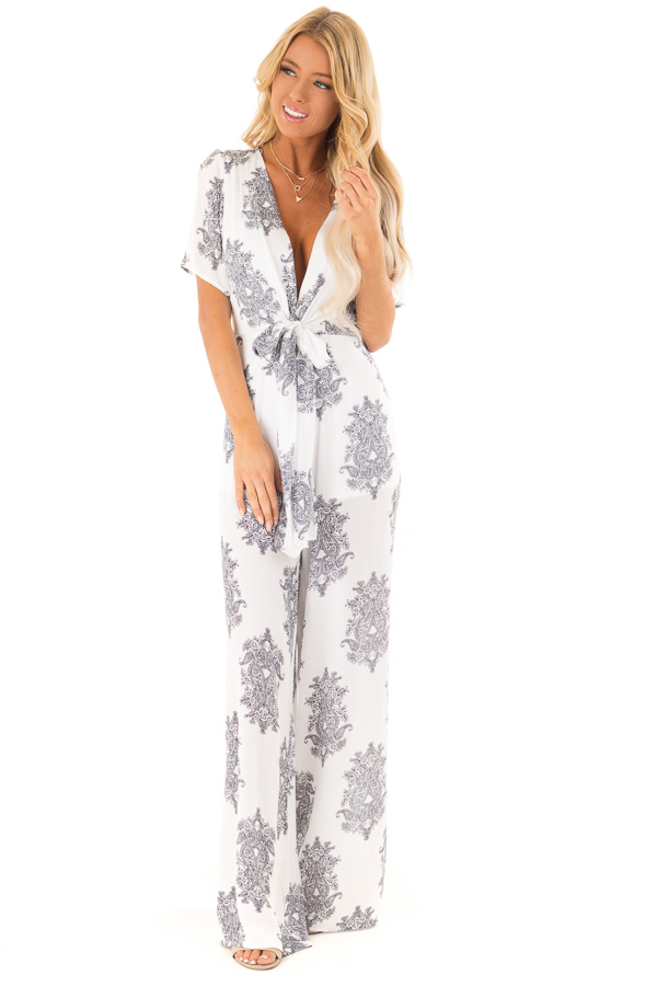 White and Midnight Navy Paisley Jumpsuit with Waist Tie front full body