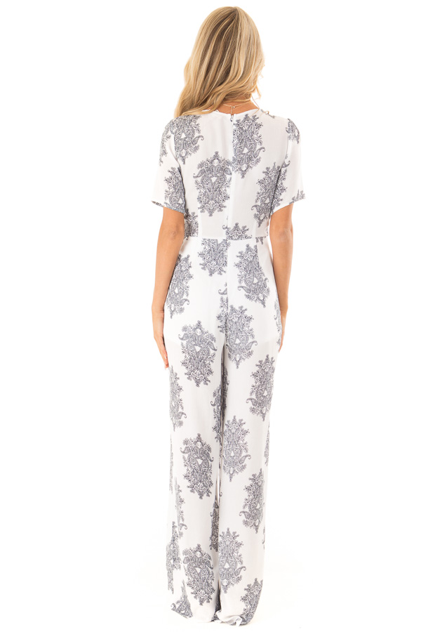White and Midnight Navy Paisley Jumpsuit with Waist Tie back full body
