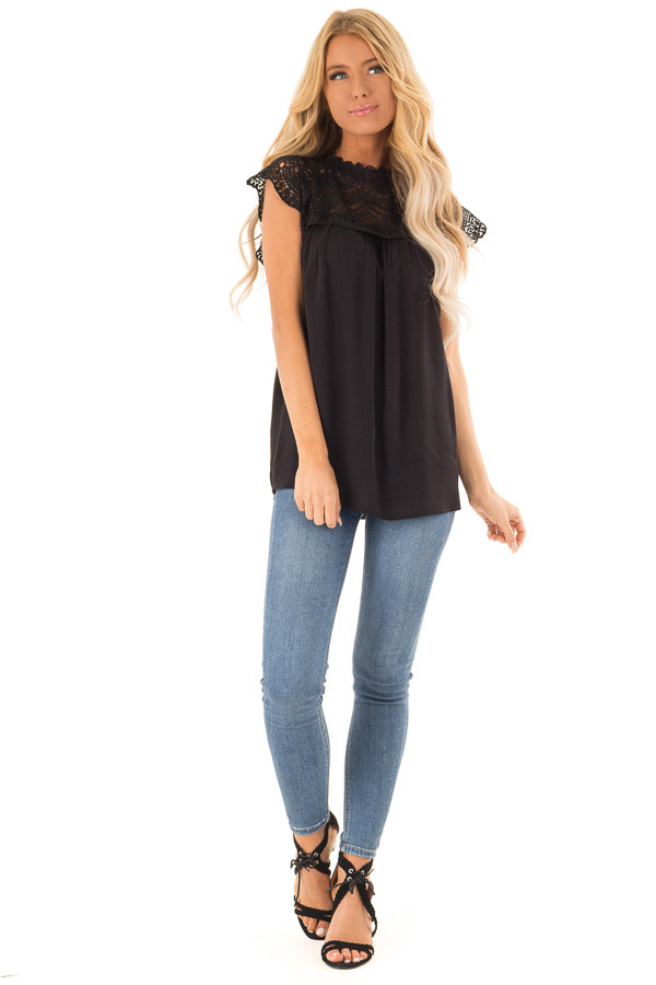 Midnight Black Short Sleeve Mock Neck Top with Lace Detail front full body