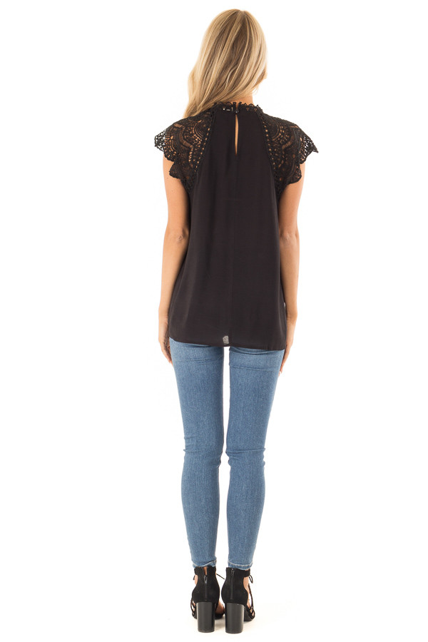 Midnight Black Short Sleeve Mock Neck Top with Lace Detail back full body