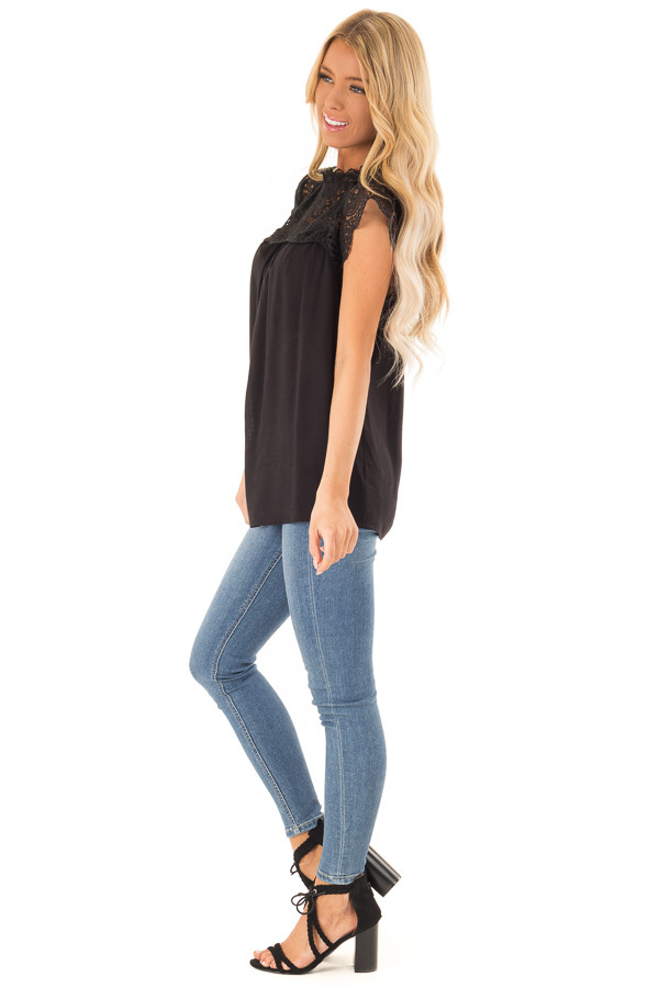 Midnight Black Short Sleeve Mock Neck Top with Lace Detail side full body