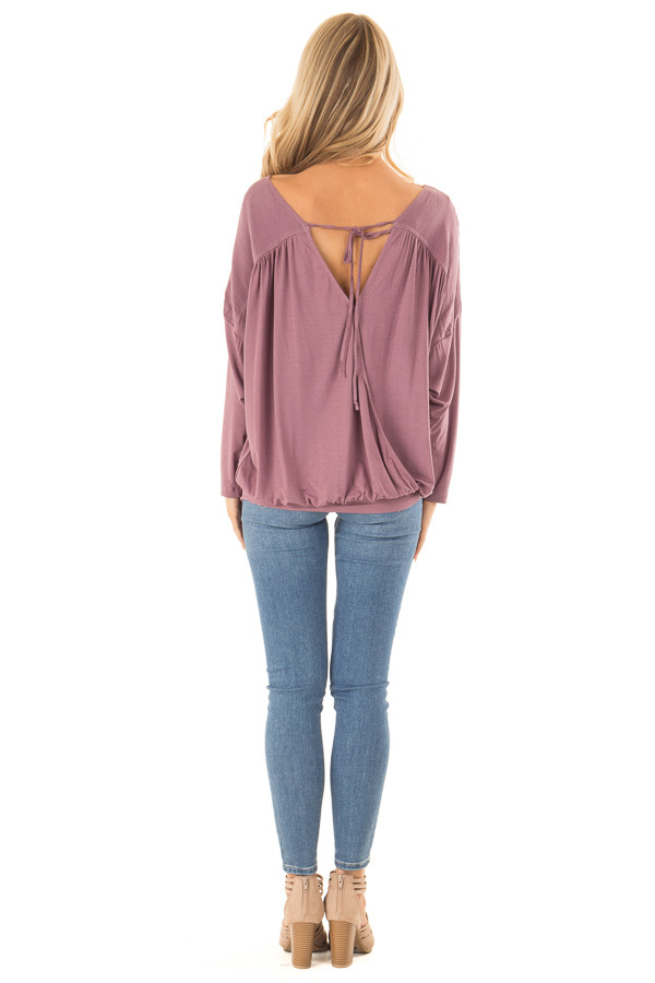 Dusty Plum Long Sleeve Reversible Top with Self Tie Detail back full body