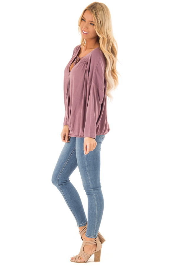 Dusty Plum Long Sleeve Reversible Top with Self Tie Detail side full body