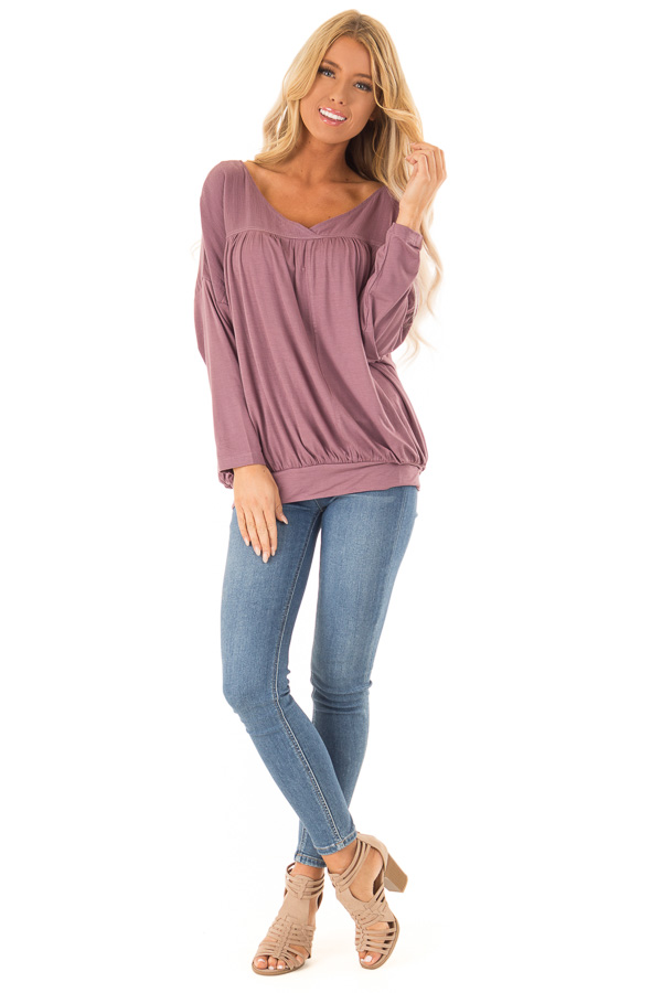 Dusty Plum Long Sleeve Reversible Top with Self Tie Detail front full body