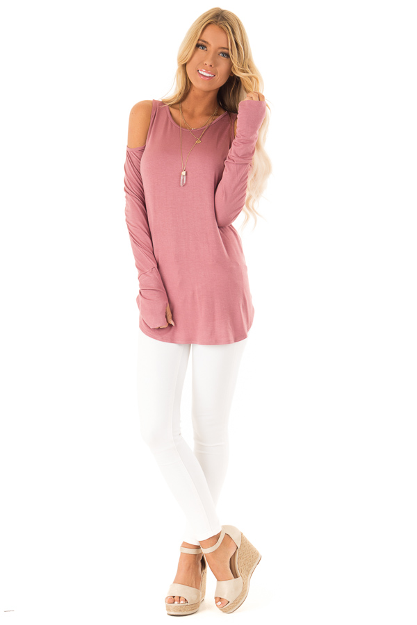 Deep Mauve Cold Shoulder Long Sleeve Soft Knit Top front full body