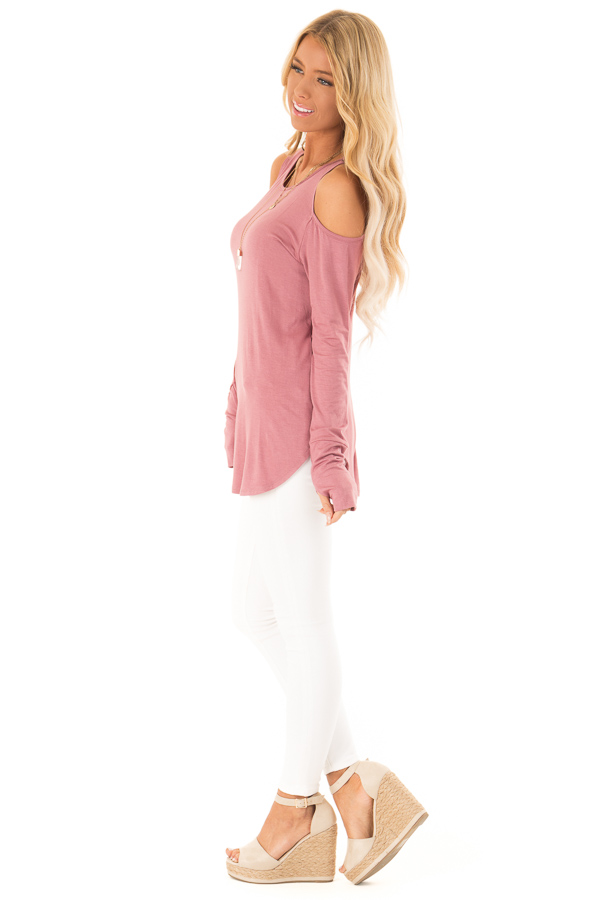 Deep Mauve Cold Shoulder Long Sleeve Soft Knit Top side full body